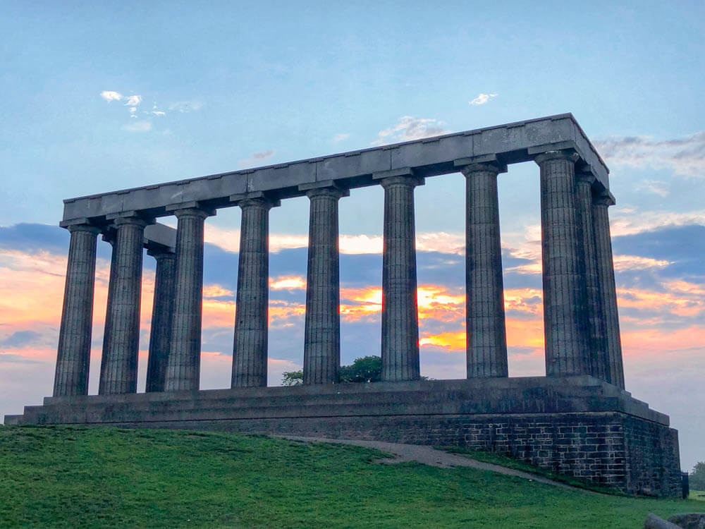 Scotland photo tour including photo of  The National Monument of Scotland on top of Calton Hill at sunrise