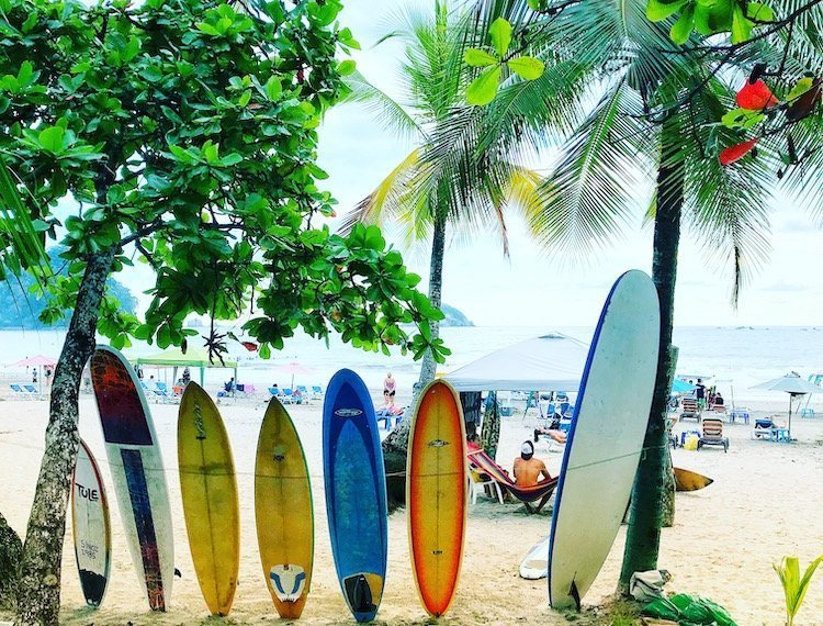 surf boards in Costa Rica on the beach