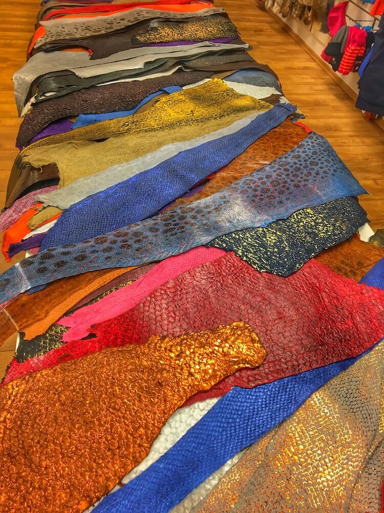 Fish Leather laid out on a table from a shop in Iceland.