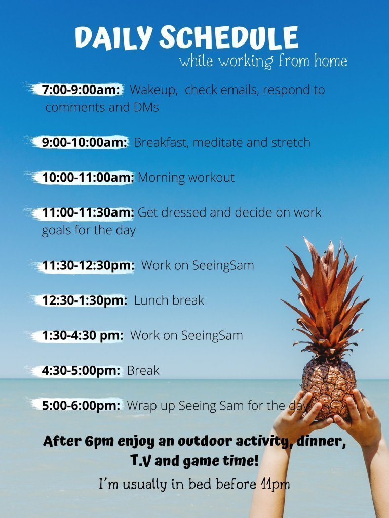 Picture of a daily schedule showing a fun indoor activity that you can do.