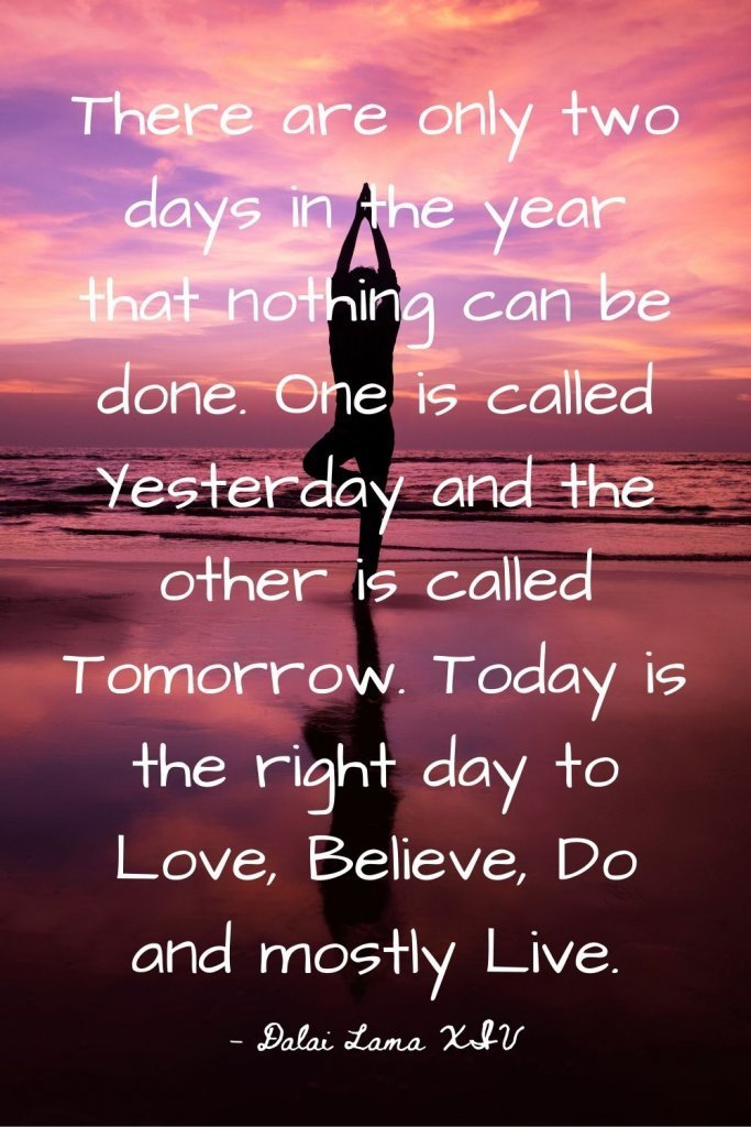 There are only two days in the year that nothing can be done. One is called yesterday and the other is called tomorrow. Today is the right day to Love, Believe, Do and mostly Live. -Dalai Lama XIV