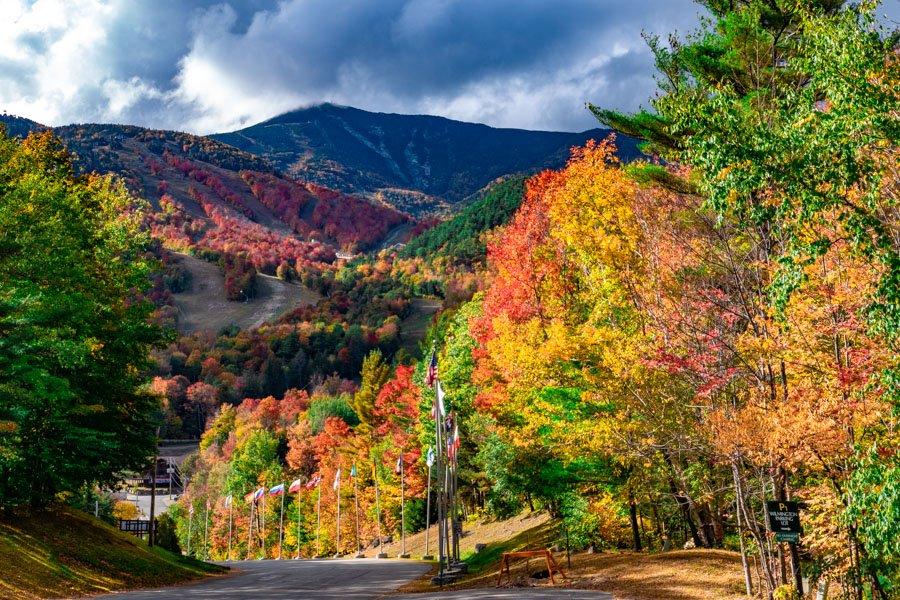 Whiteface mountain ski resort during fall foliage