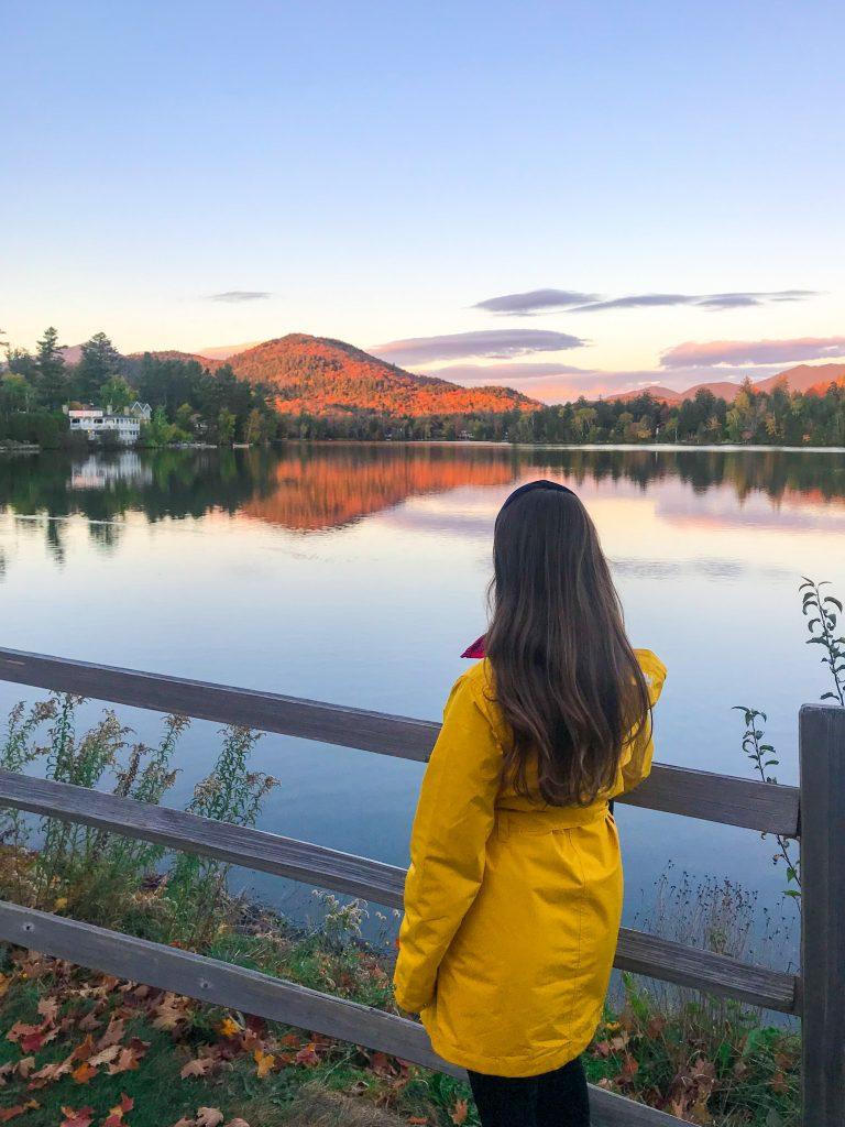 Sunset at Mirror Lake in Lake Placid