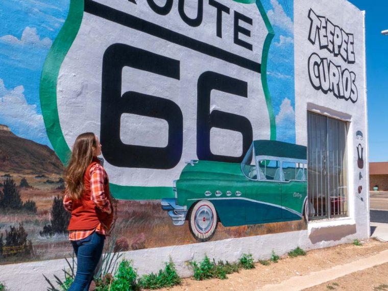 road trip route 66 mural in Tucumcari New Mexico
