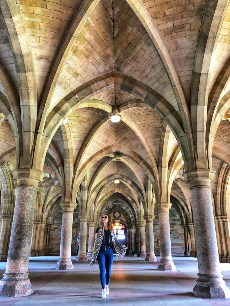 Girl under the Cloisters at Glasgow University Scotland